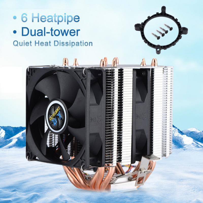 Quiet 4pin 6 Heatpipe CPU Cooler Dual-tower Air Cooling 800-2200 Revolution Heatpipe CPU Cooler cpu cooler dual fan  2 heatpipe  tower