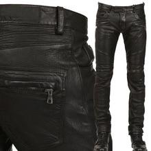Новое поступление из искусственной кожи мужские стильные джинсы для езды байкерские Узкие повседневные штаны