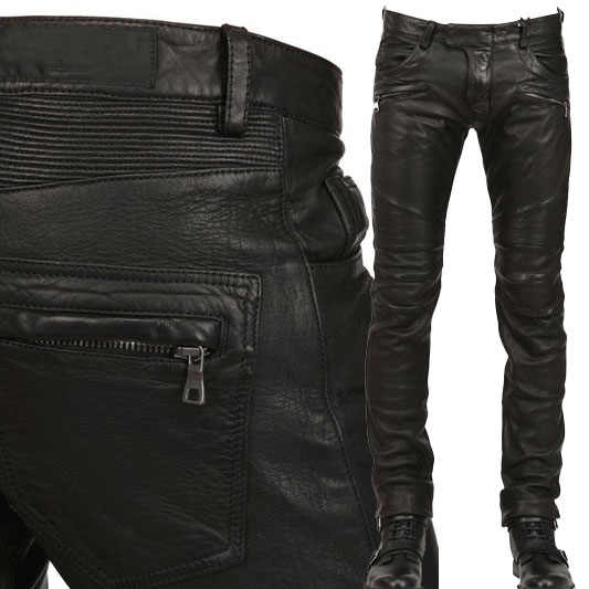 New Arrival  PU Leather Men's stylish Riding Jeans Biker slim casual  pants