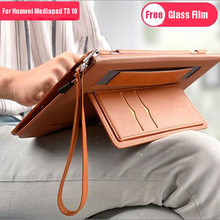 Case For Huawei MediaPad T3 10 AGS-L09 AGS-L03 9.6Tablet Smart Stand Cover For Honor Play Pad 2 Businees Cover With Glass Film folio pu leather cover case for huawei mediapad t3 10 ags l09 ags l03 for huawei honor play pad 2 9 6 inch tablet stylus film