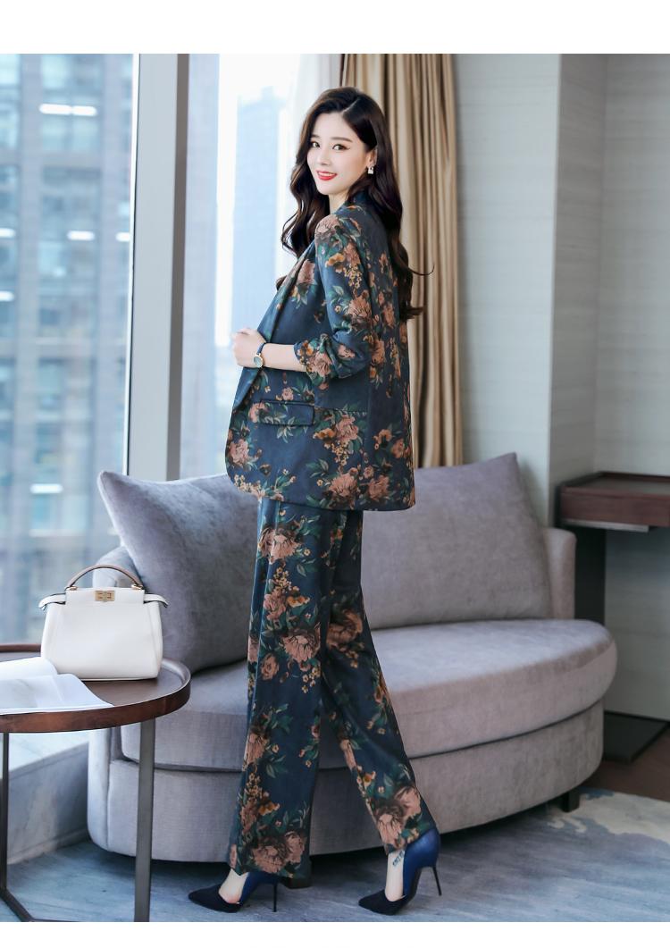 YASUGUOJI New 2019 Spring Fashion Floral Print Pants Suits Elegant Woman Wide-leg Trouser Suits Set 2 Pieces Pantsuit Women 37