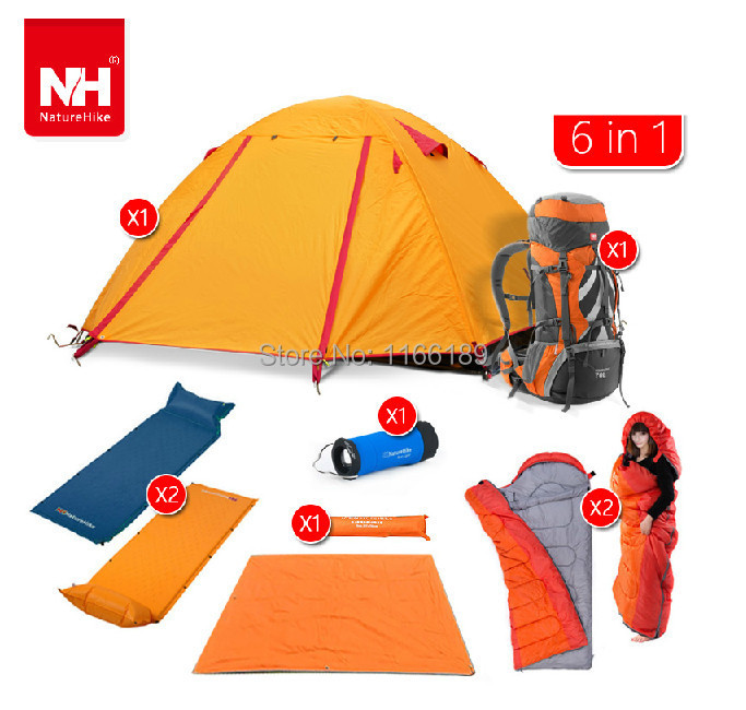 Aliexpress Buy 2 Person Outdoor Camping Equipment Set Including Tent1 Sleeping Bag2 Mat Light1 Air Mat2 70L Professional Backpack1 From