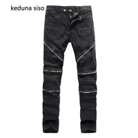 High Quality Knee zipper Design Straight Destroyed Jeans Brand Casual Slim Ripped Jeans Homme Retro Men's Trousers Black Denim