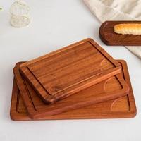 Sapele home steak plate wooden tray cutting board breadboard cooked meat plate western restaurant cut sirloin dish pizza board