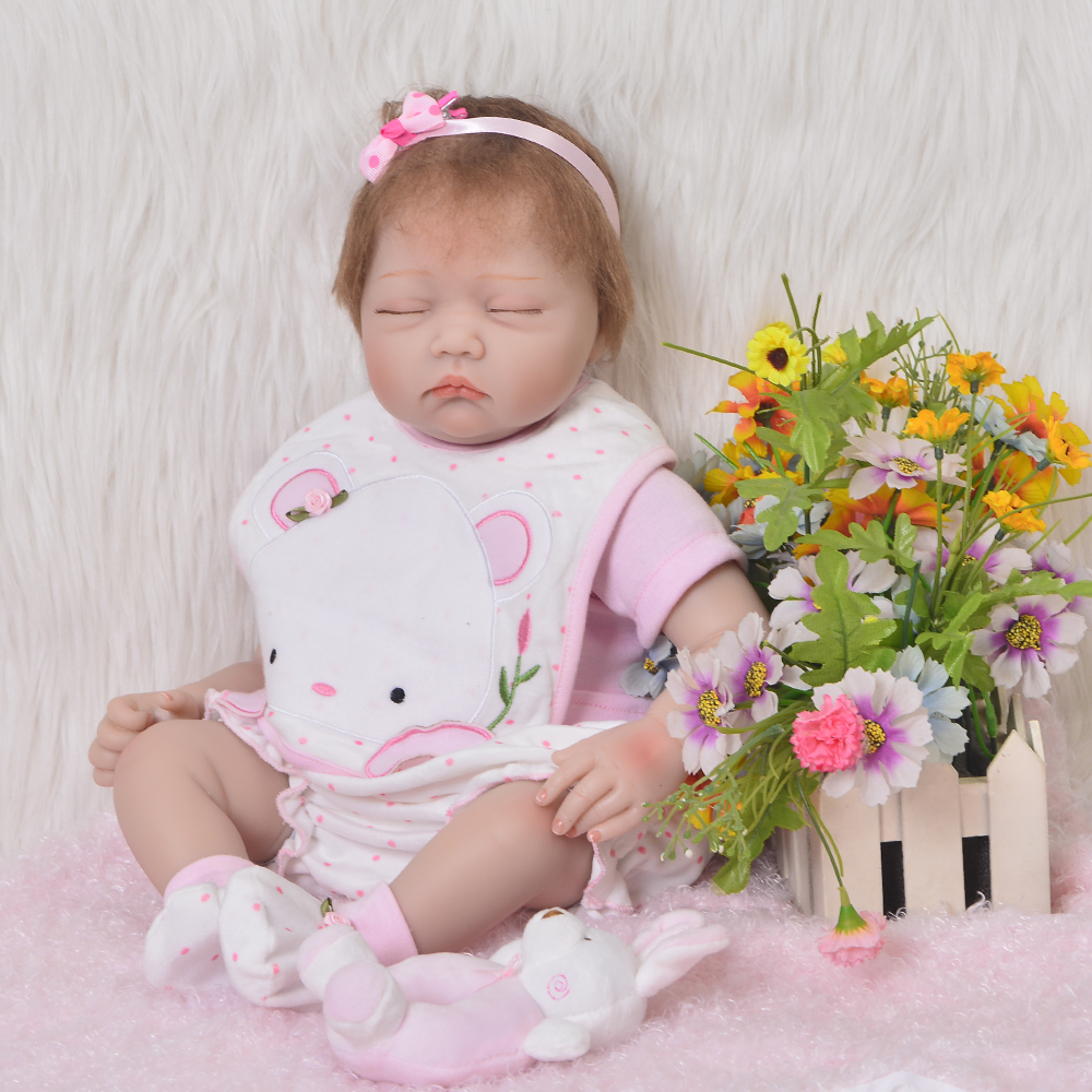 Newborn Doll Realistic 22'' Sleep Baby Alive Doll Toy Cloth Body Reborn Doll For Children's Day Gift Bedtime Play Girl Brinquedo handmade 18 cute china girl doll reborn baby doll sd bjd doll best bedtime playhouse toy enducational toy for girls as gift