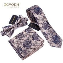 3 PCS גברים עניבה סט Bowtie Slim עניבה באיכות גבוהה Slim סקיני צר גברים עניבת שמלת ממחטת חליפת כיכר סט