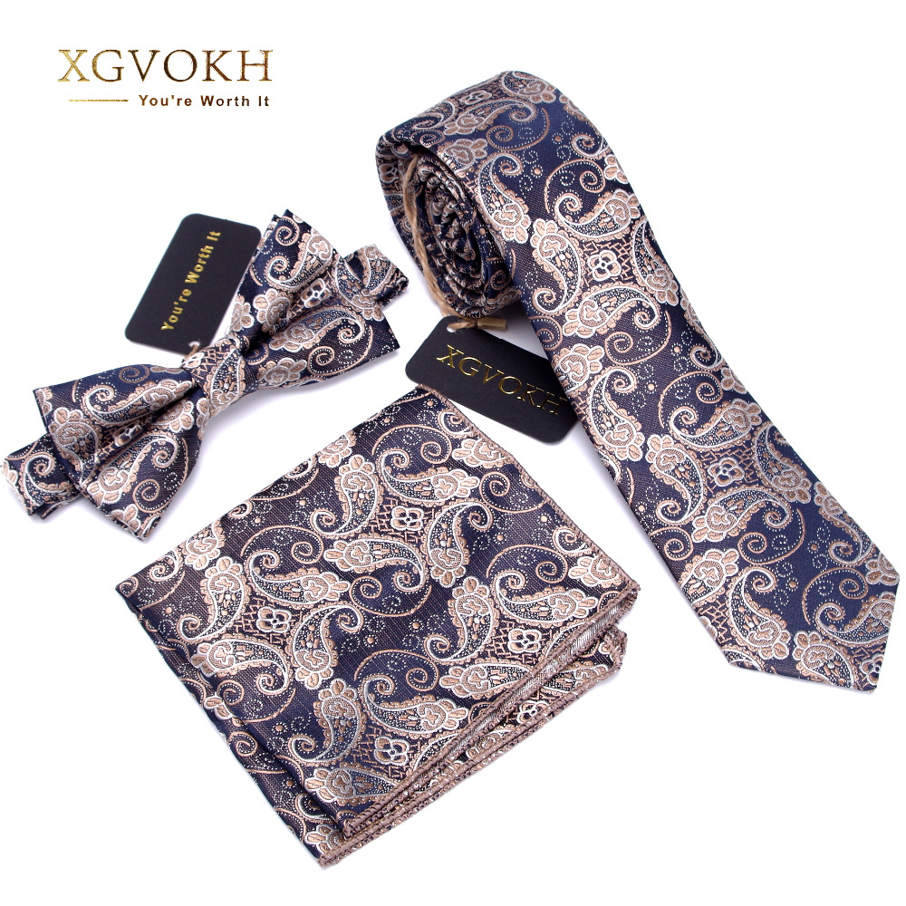 3 PCS Men NeckTie Set Bowtie Slim Cravatta alta qualità Slim Skinny Narrow Men Tie vestito Fazzoletto Pocket Square Suit Set