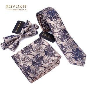 Image 1 - 3 PCS Men NeckTie Set Bowtie Slim Necktie high quality Slim Skinny Narrow Men Tie dress Handkerchief Pocket Square Suit Set