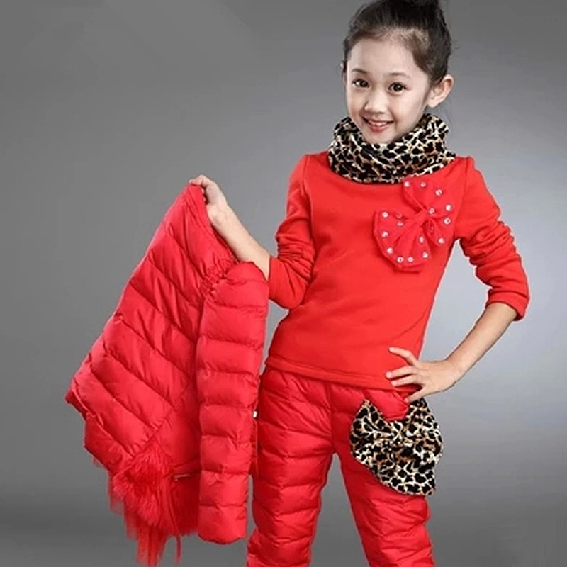 3-10 Y children clothing sets girls winter jacket down cotton padded outerwear coat kids girl down jackets for snow wear children sets girls winter sweater coat
