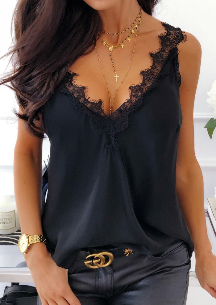 Summer Top Tank-Top Splicing-Tank Women Clothes Lace Plus-Size Femme Solid Debardeur