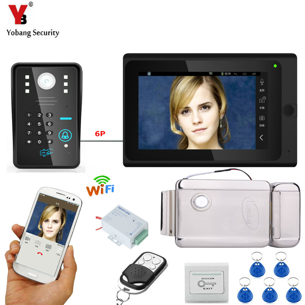 Yobang Security 7HD Video Doorbell WIFI Code ID Cards Unlock Intercom Kits+Exit Button Electric /NC/Magnetic Door Lock Option