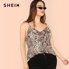 Shein blusa de pele de cobra, novidade feminina, sem mangas, alça espaguete, plus size