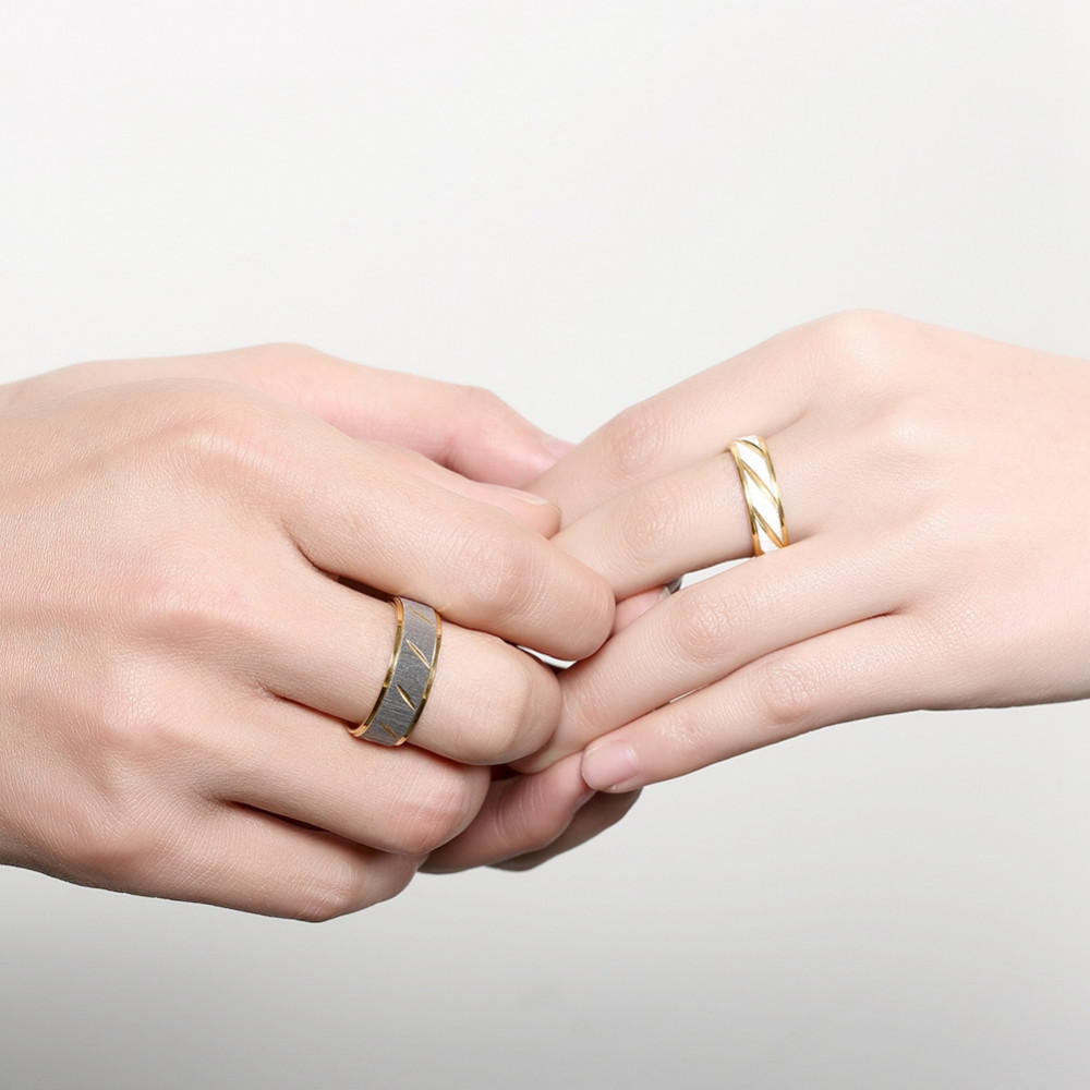 ᐂPATICO Titanium Steel Romantic Couple Lover Ring Men Women Gold ...