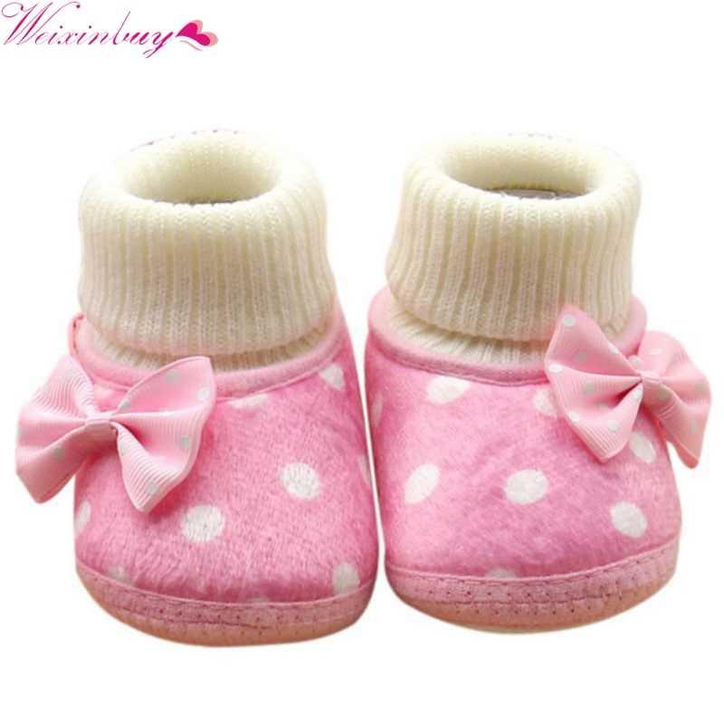 1cd25bd0 Zapatos de bebé recién nacido bebé botas 2018 nuevo invierno Niña Bowknot  Fleece Snow Boots botines