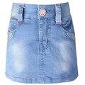Девушки синий деним-Линии юбки дети Letter pattern Стразы брюки дети девочки гибкой талии джинсы стиль одежды LL585