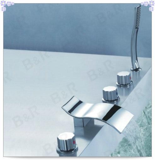 Curved Big Waterfall Bathroom Ceramic valve Tap Chrome Sink bathtub ...