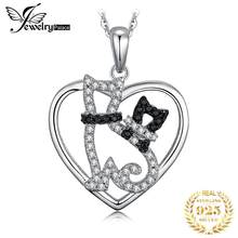 JewelryPalace 925 Sterling Silver Pendants Necklace Genuine Black Spinels Mother Baby Pet Cats Heart Pendant Without Chain(China)
