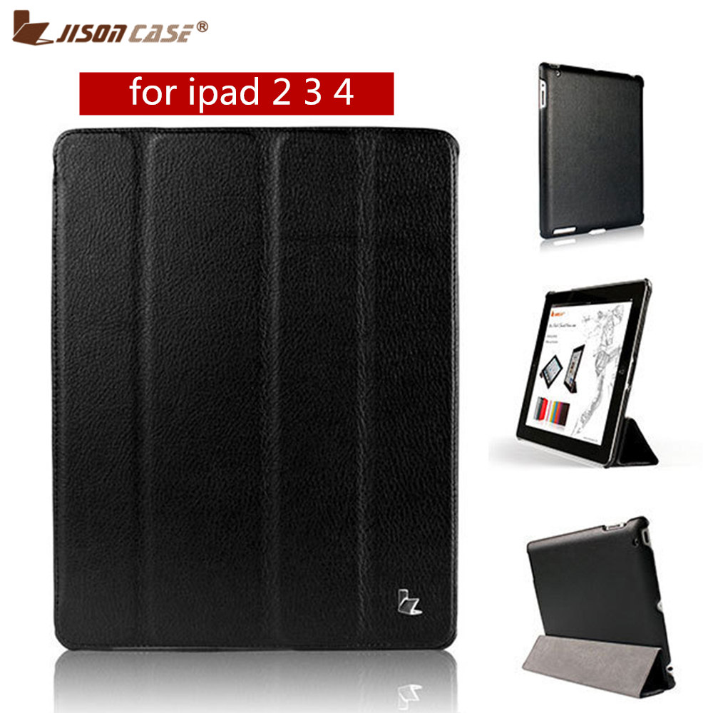 Jisoncase Flip Case For iPad 2 3 4 Magnetic Auto Wake up sleep PU Leather Cover Folio Stand Holder Case for iPad 4 3 2