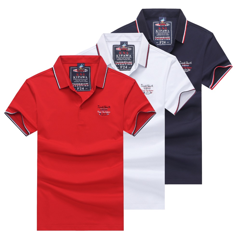 Summer 2019 short sleeve   polo   shirt men cotton brand Tace & Shark poloshirt striped solid 3D embroidery men's   polo   shirts 3XL