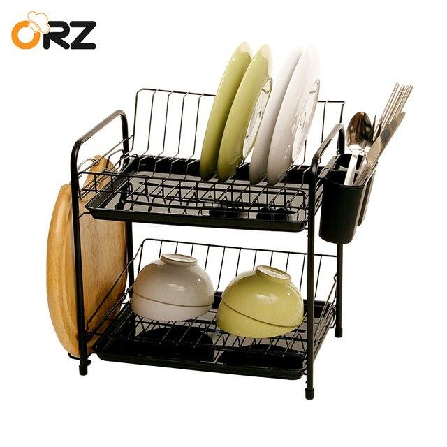 ORZ 2 Lapisan Dapur Hidangan Rak Piring Rak Tiriskan Mangkuk Cutlery Pemegang Cangkir Piring Rak Pengeringan dengan Nampan Dapur organizer