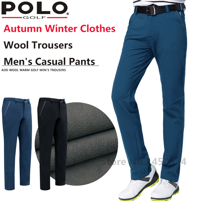 New POLO Quality Trouser Straight Pant Slim Male Golf Plus Velvet Elastic Pants Autumn Winter Clothes Wool Trousers Men's Pants