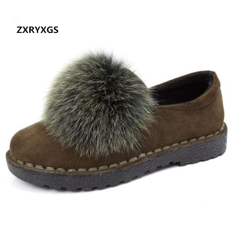 ZXRYXGS Brand Shoes Woman Flats Rabbit Fur Matte Real Leather Shoes Fashion Casual Shoes Flat Comfort Autumn Winter Women Shoes brand women flats shoes real rabbit fur slippers plus size winter autumn warm female flat heel slip shoes casual home slippers30