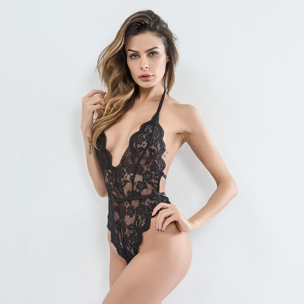 Sexy backless women bodysuit Deep v neck mesh transparent strap lace bodysuit