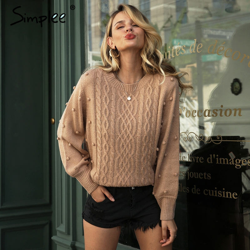 Simplee Twisted O-neck Women Knitted Pullover Sweater Autumn Winter Casual Female Jumper Streetwear Ladies Top Overalls 2019