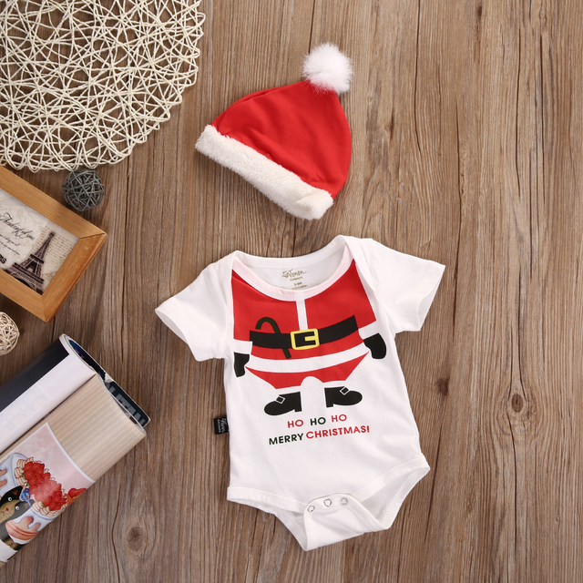 Cute Newborn Baby Girl Boy Playsuit Romper Santa Hat XMAS 2pcs Outfits Set  Kids Christmas Clothes 9f041ac02f8f