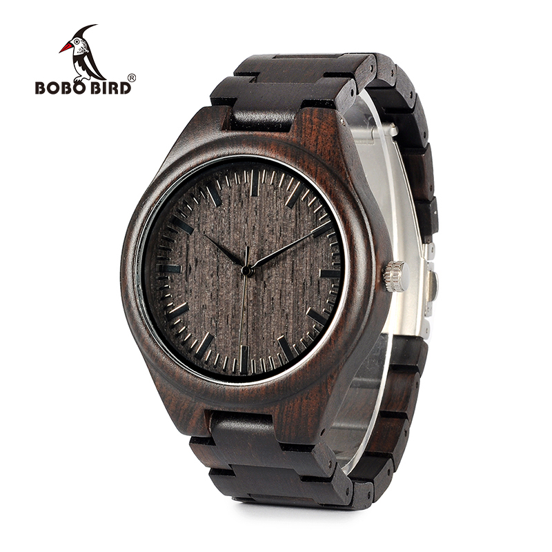BOBO BIRD WH05 Brand Design Classic Ebony Wooden Mens Watch Full Wood Strap Quartz Watches Lightweight Gift for Men Carton Box bobo bird brand new wood sunglasses with wood box polarized for men and women beech wooden sun glasses cool oculos 2017