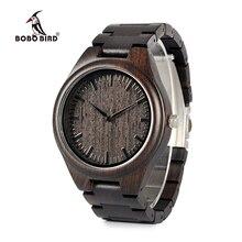 BOBO BIRD WH05 Reloj clásico de madera para hombre, diseño de marca, de ébano, correa de madera completa, relojes de cuarzo, regalo ligero para hombre, caja de cartón