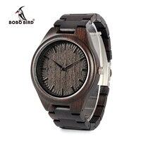 BOBO BIRD WH05 Brand Design Classic Ebony Wooden Mens Watch Full Wood Strap Quartz Watches Lightweight Gift for Men Carton Box
