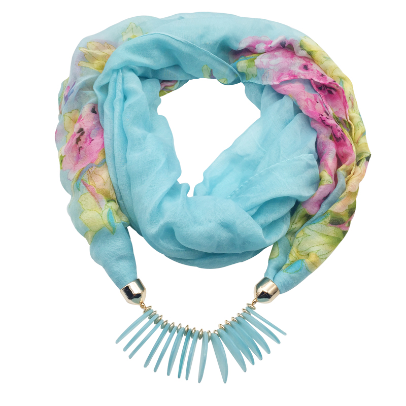 Fashion scarf necklace for women beads pendent jewelry wrap bandana ethnic foulard lic winter female accessories colorful flower