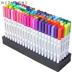 Hethrone 100PC weiß FineLiner stift Zeichnung stift Aquarell Malerei liefert Marker Doppel Tipps Pinsel Stift für Graffiti DIY geschenke