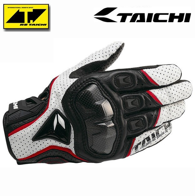 Motorcycle Gloves RS Taichi RST390 Mens Perforated Leather Mesh Racing Motocross Motorbike Gloves Black Red White