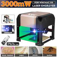 3000MW Desktop Laser Engraving Machine Logo Marking FOR WIN/Mac OS System Wood Router CNC Laser Carving Machine Range 80x80mm