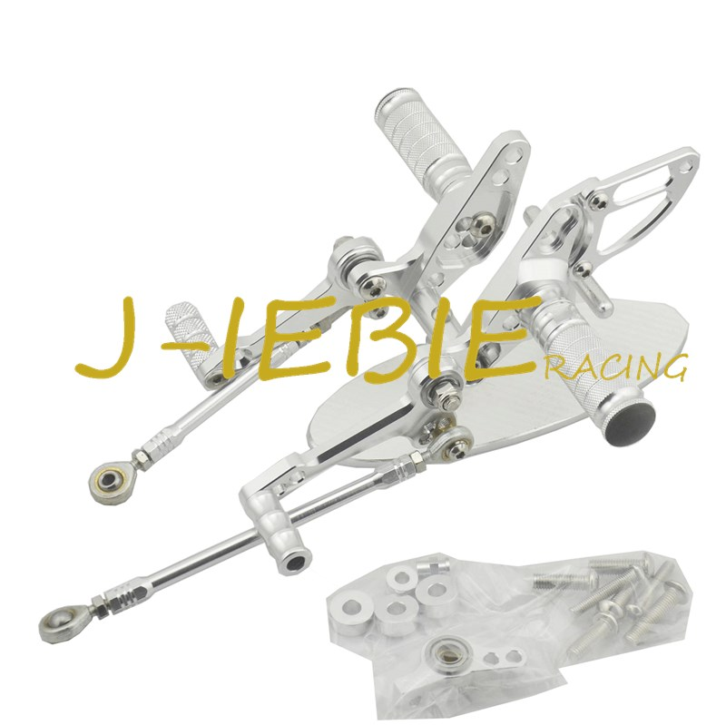 CNC Racing Rearset Adjustable Rear Sets Foot pegs Fit For  Ducati Streetfighter 848 1098 SILVER titanium cnc aluminum racing adjustable rearset foot pegs rear sets for yamaha mt 07 fz 07 mt07 fz07 2013 2014 2015 2016