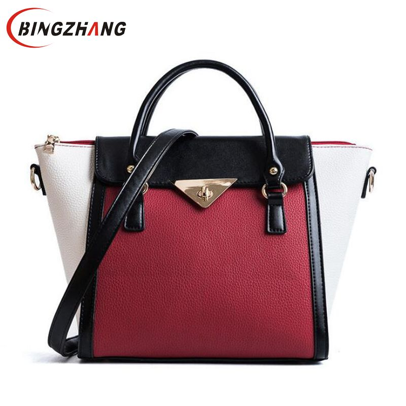 2018 Women Bag Lock Trapeze Women Casual Totes Luxury Leather Handbags Designer Famous Brand Crossbody For Women sac L8-78 women designer leather smiley trapeze handbag luxury lady smiling face purse shoulder bag girl crossbody bag sac femme neverfull