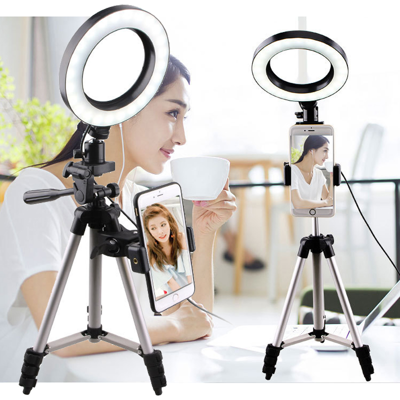 Selfie Lights Ring Fill Light LED Photographic Studio Dimmable Ringlight Phone Holder Lighting 1 25m Tripod for iPhone Huawei