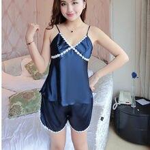 fdab41d374c Satin Pajamas Set Lace Trim Pijama Short Pant Sexy Cami Bridal Sleepwear  Sets For Women With