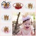 Детские Девушки Первый День Рождения Cap Украшения Hairband Принцесса Королева Корона Кружева Волос Группа Эластичный Головные Уборы Как Подарок На День Рождения