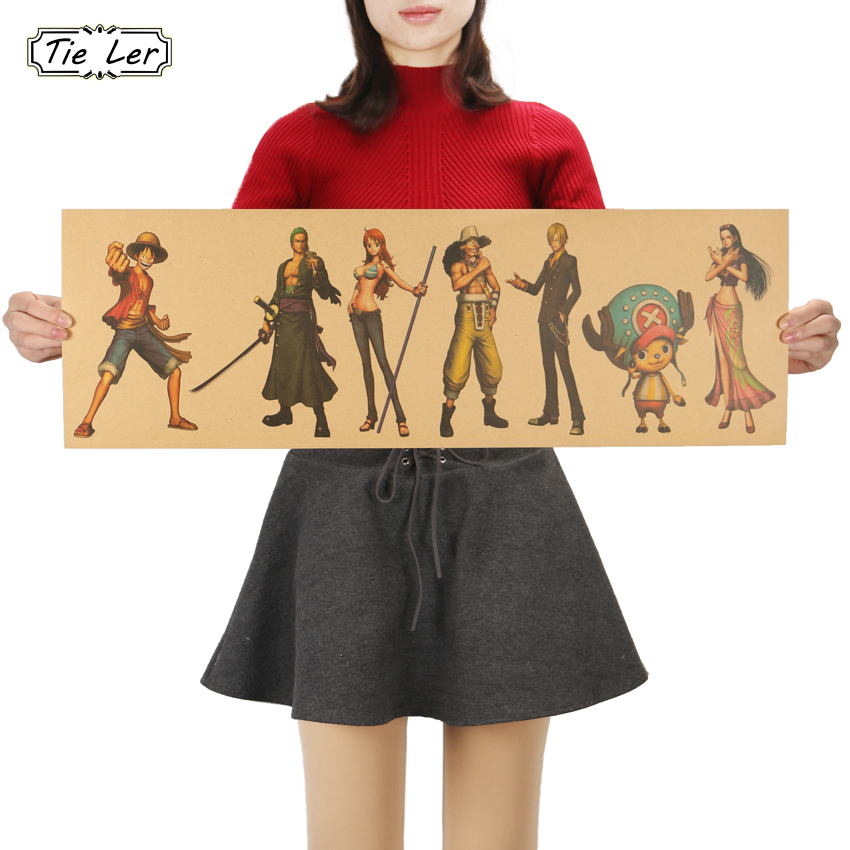 TIE LER One Piece Wide Version A Style Kraft Paper Classic Cartoon Anime Poster Decorative Paintings Wall Sticker 72.5X24cm