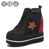 Women Boots Wedge Concealed Heel High Top Platform Ankle Boots Lace Up Snow Boots 12cm Woman