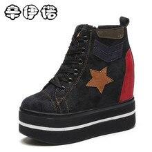 Для женщин Сапоги и ботинки для девочек ботильоны на высокой платформе со скрытым каблуком зимние ботинки на шнуровке 12 см женская повседневная обувь на танкетке bota feminina