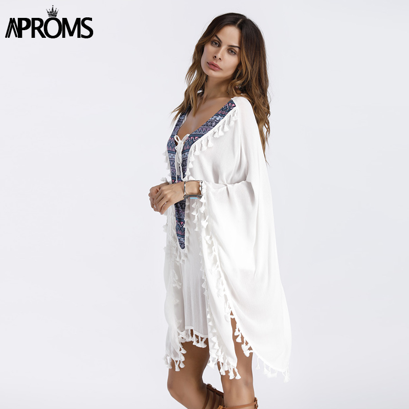 Women's Clothing New Women Beach Blouse Summer Hollow Out Blouse Shirt Long Sleeve See Through Flare Sleeve Tassel Bikini Cover Blusa High Quality And Inexpensive