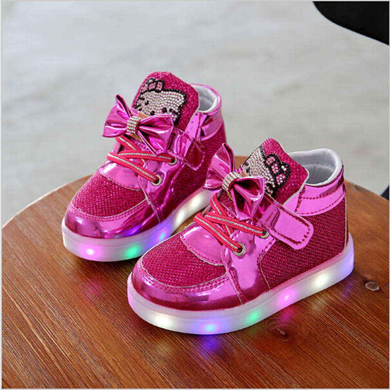 KKABBYII Kids Led Shoes Casual Leather Children Shoes With Light School Shoes Boy Girls Sneakers Glowing Sneakers