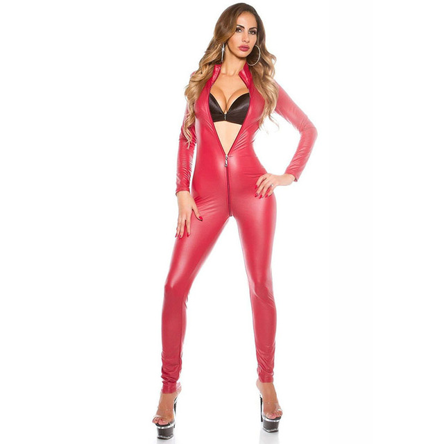 Dream Vine Sexy Jumpsuit For Women's Vinyl Catsuit Latex Faux Leather Bodysuit Zipper Open Crotch PVC Leotard Jumpsuit Costume