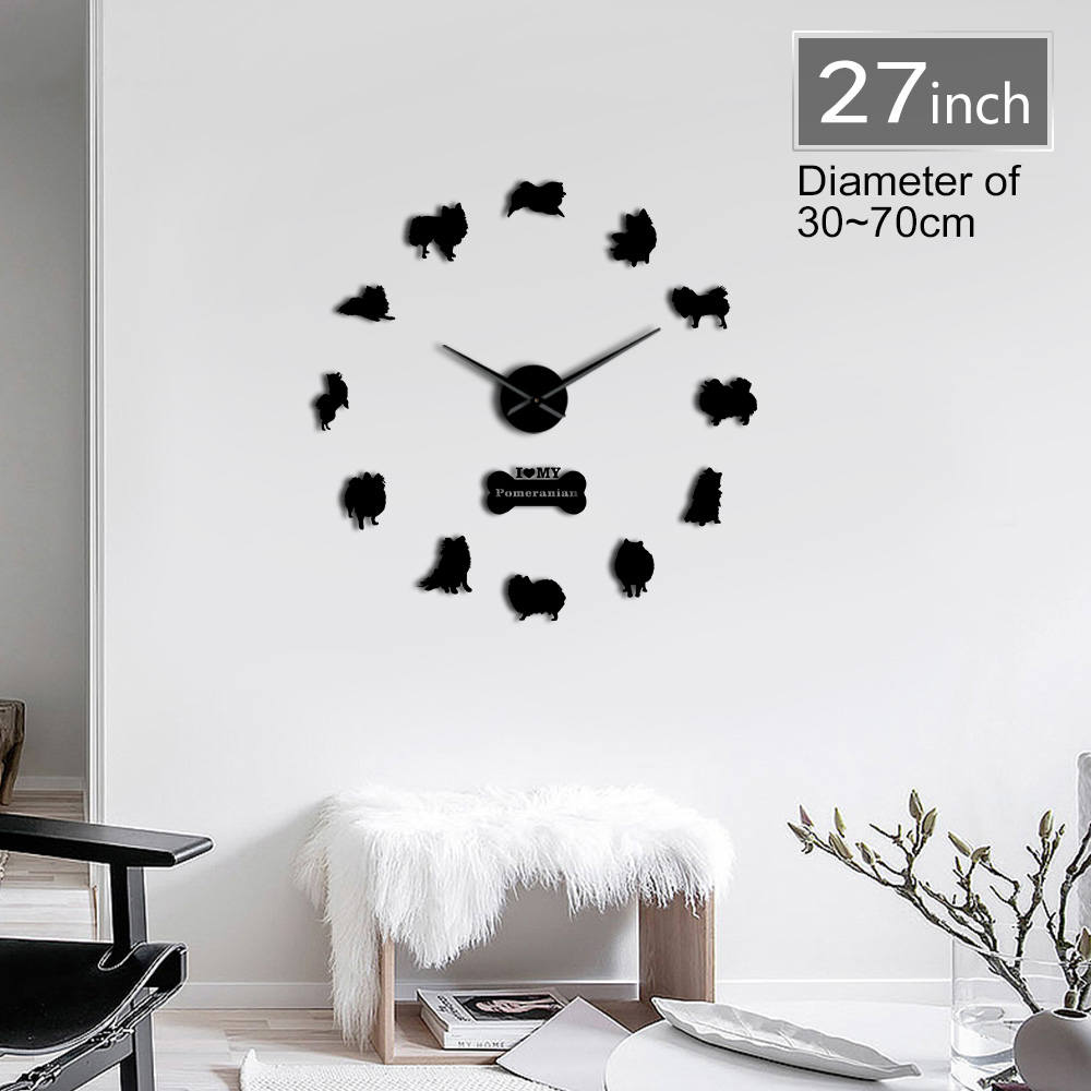 Adorable Pomeranian Spitz Dog Shaped 3D DIY Designer Wall Clock Acrylic Wall Stickers With Mirror Effect Clock For Home Decor