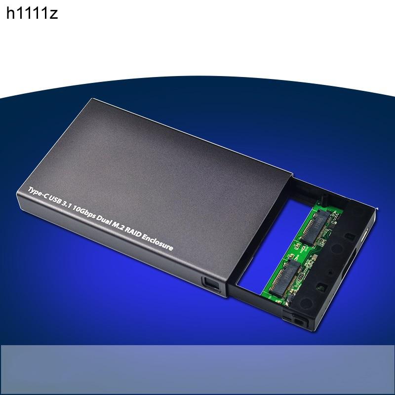 Новый Тип-C M2 NGFF двойной SSD Интерфейс корпус RAID CARD Тип-C USB 3.1 gen2 10 Гбит/с двойной M2 RAID адаптер Box для ПК ...