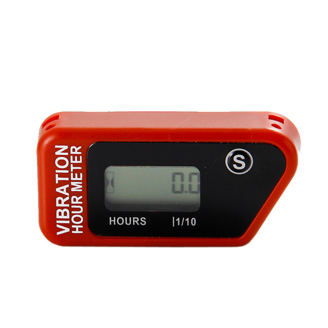 Red Free shipping Resettable LCD Wireless Vibration Hour Meter For chainsaw pit bike dirt bike lawn mower snowmobile ATV marine.